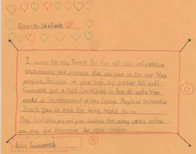 Erongo feria de ciencia - carta de agradecimiento